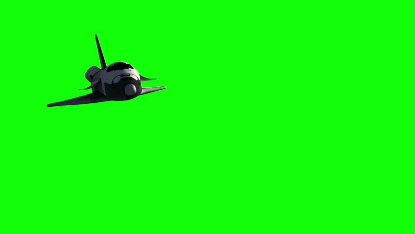 Flight Of Space Shuttle.Green Screen. 3D Animation.