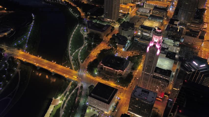 Aerial Ohio Columbus July 2017 Night 4K Inspire 2 | Shutterstock HD Video #31626226