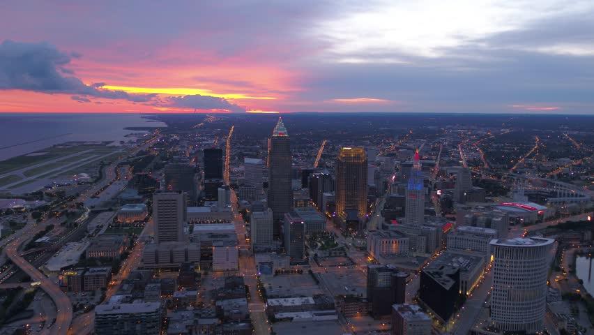 Aerial Ohio Cleveland July 2017 Sunrise 4K Inspire 2 | Shutterstock HD Video #31627783
