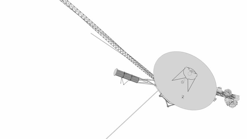 Voyager space probe, technical lines drawing.