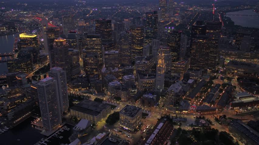 Aerial Massachusetts Boston July 2017 Night 4K Inspire 2 | Shutterstock HD Video #31630078