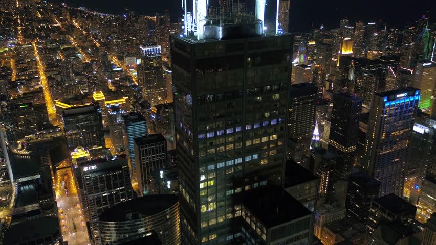 Aerial Illinois Chicago July 2017 Night 4K Inspire 2  | Shutterstock HD Video #31631146