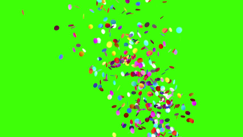 Confetti Party Popper Explosions on a Green Background. 3d animation, 4K. #31638130
