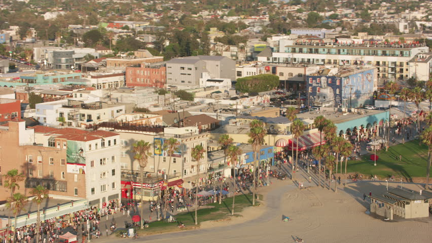Venice Beach, California circa-2017, Aerial shot of Venice Beach. Shot with Cineflex and RED Epic-W Helium.