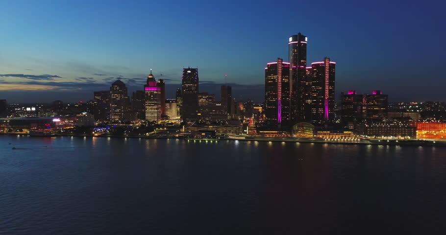 Detroit night aerial