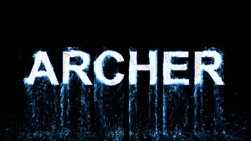 Name ARCHER appears from the water, then disappears. Transparent alpha channel. 3D rendering   Shutterstock HD Video #31667839