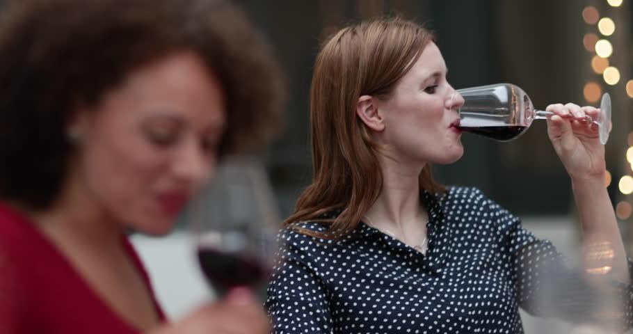 Female friends drinking red wine #31678900