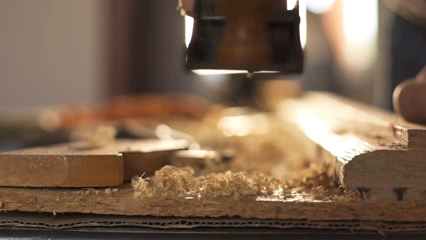 Carpenter planed wood, workplace. Slow motion | Shutterstock HD Video #31685620