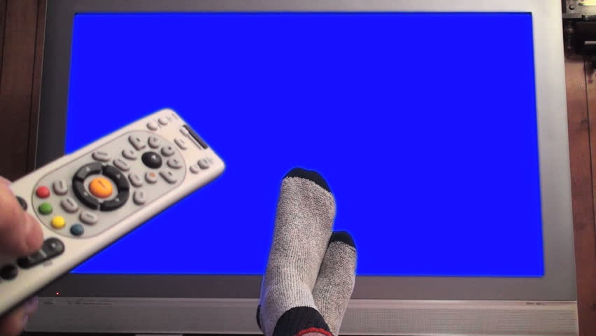 Remote changes channels on TV, blue screened - HD 1080i
