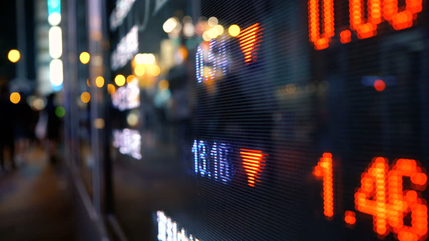 Display stock market numbers and graph on street #31698862