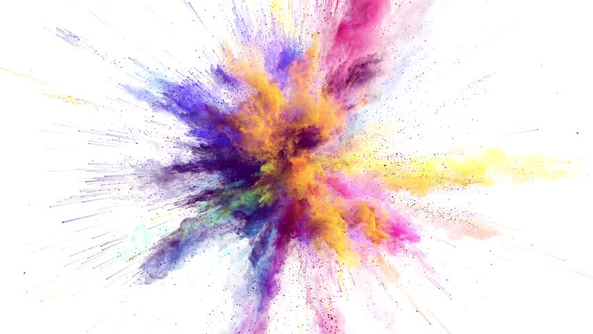 Animation of color powder explosion on black background. Slow motion movement with acceleration in the beginning.