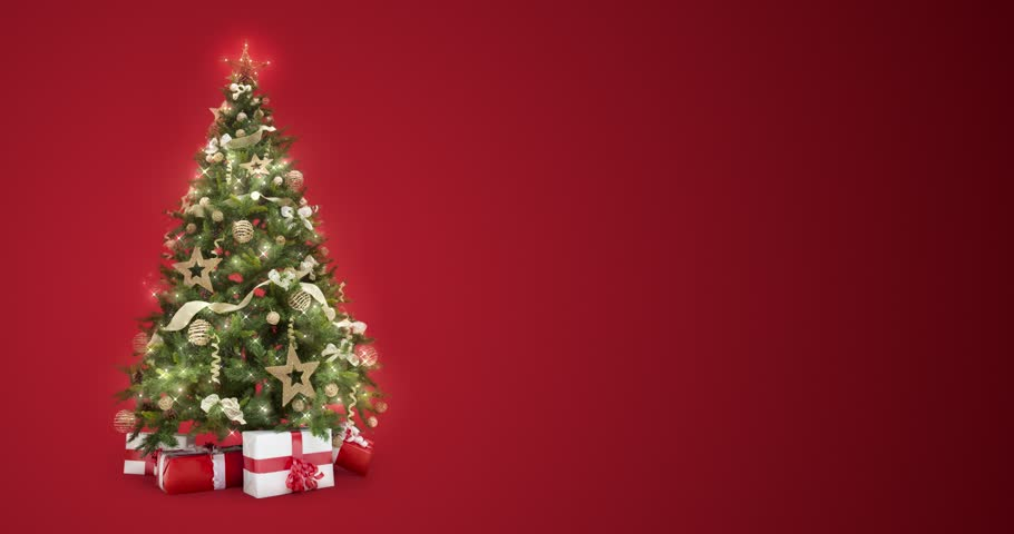 Looping lights decorated xmas tree with gift boxes and magic lights on red background with text space to place logo or copy. Animated abstract Christmas present greeting post card. 4k loop video | Shutterstock HD Video #31717999
