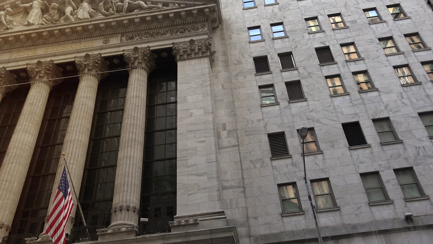 NEW YORK CITY, USA-circa 2017:New York Stock Exchange. NYSE is the largest stock exchange in the world. ultrahd4k,real time