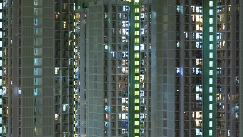 Timelapse of Hong Kong residential building at night  #31718815