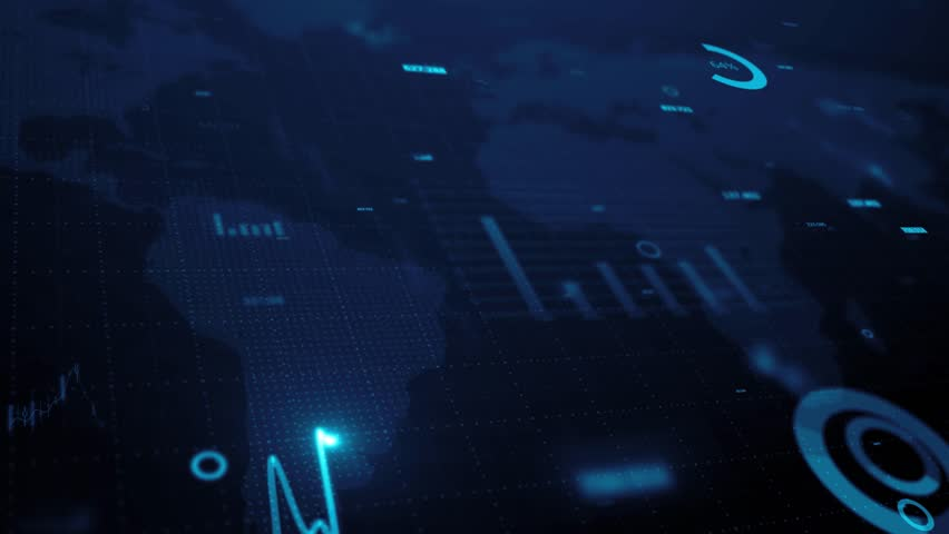 3d render. Animation of graph of stock market data and financial analysis. Stock market graph. Financial statistical analysis on blue background with growing charts. Big data on LED panel. | Shutterstock HD Video #31720861