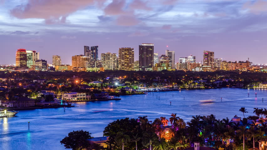 Fort Lauderdale, Florida, USA cityscape at twilight.   Shutterstock HD Video #31725898