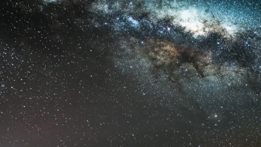 Milky way time lapse galaxy in horizon night time, panoramic universe view at dark sky. Representation of the clear skies with globular cluster. Mojave Desert, Seamless loop Full HD. | Shutterstock HD Video #31732114
