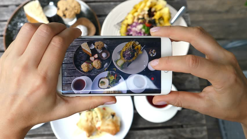 Woman Hands Taking Photos Of Dinner Food By Smartphone. Closeup. 4K.
