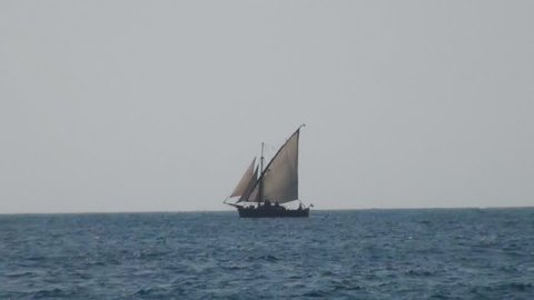 Old mall nice ship travels at the open sea on a sunny day