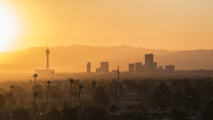 Las Vegas, Nevada, USA - October 10, 2017:  Dawn time lapse view of the Las Vegas strip skyline.