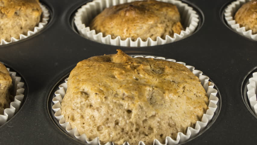 Banana nut muffins macro cooking time lapse with zoom in.  | Shutterstock HD Video #31785607