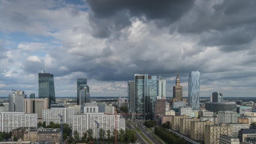 Warsaw city skyline with skyscrapers, Poland. Time lapse with dynamic clouds | Shutterstock HD Video #31786282