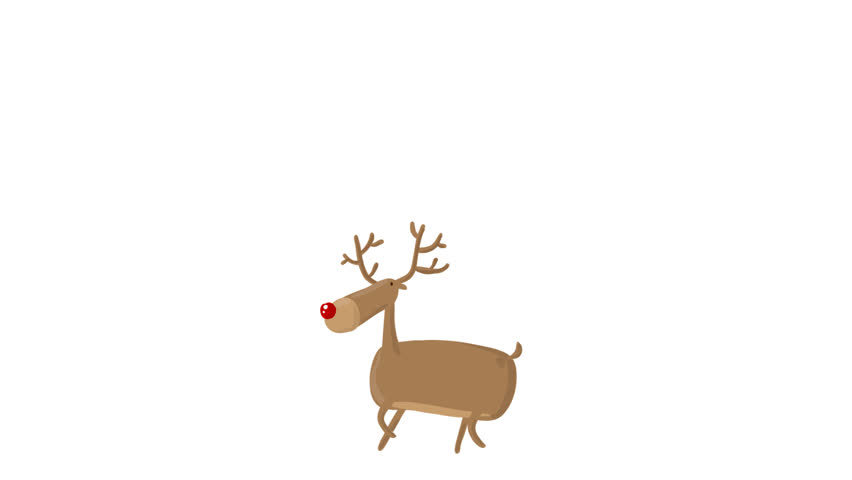 Cartoon Cute Vector Deer walking with Alpha Matte Transparent background wishing you A Very Merry Christmas and Happy New Year for use in winter snowy greeting card Animation 4K
