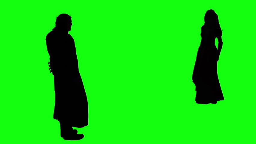 3d rendering animation - silhouettes of people hugging and giving five   on green screen
