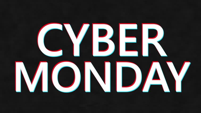 Cyber Monday. Cyber Monday sale promotion video glitch effect footage