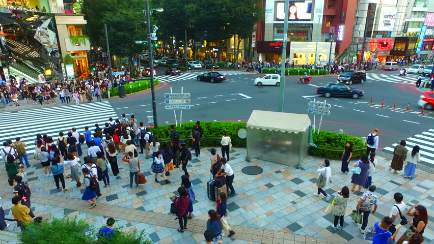 Tokyo, Japan - September 27, 2017 :Omote sando street in Tokyo Japan from above at evening.Omotesando is one of the most pleasant neighborhoods in Tokyo. | Shutterstock HD Video #31830538
