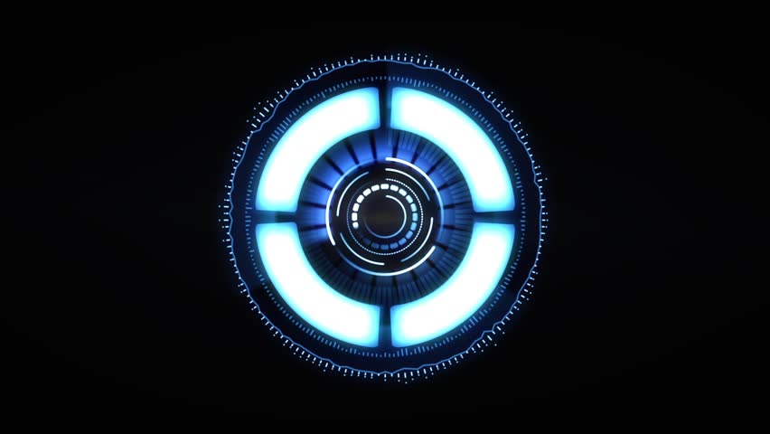 Science Futuristic Spin Circle Ring. Spinning Transfer Animation in blue tone science effect. HUD circle interfaces futuristic orb bar animation on black screen.
