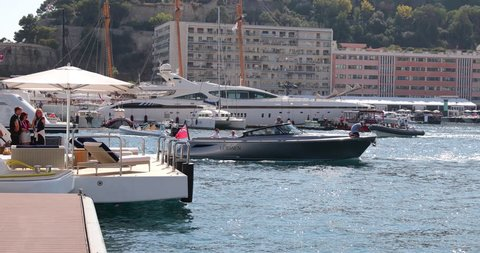 Monaco, Monte-Carlo, 27.09.2017: Largest exhibition yacht show, MYS, boats over 25 meters, the richest people from around the world, cityscape, tenders, small boats, exhibition stands, exhibitors