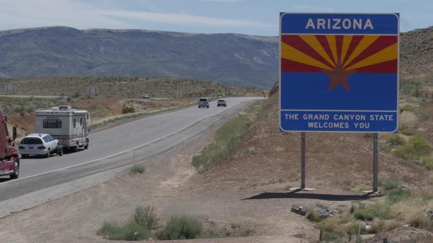 Welcome to Arizona Sign on Interstate 15 at Utah Arizona Border