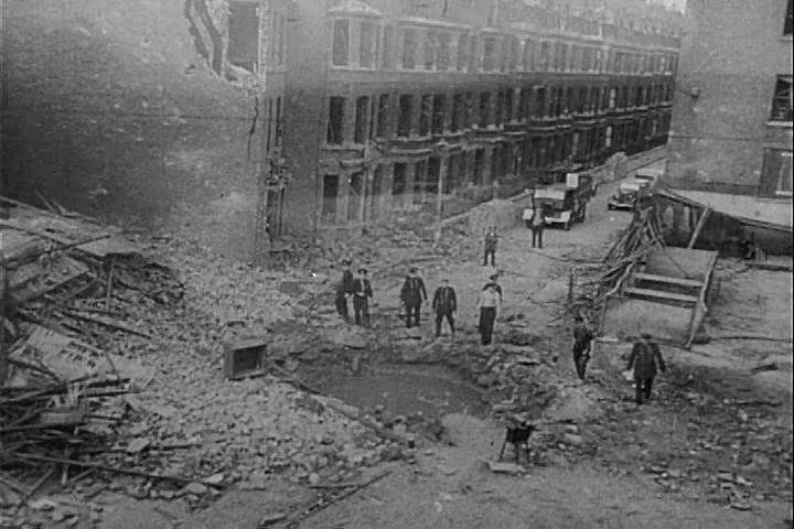 CIRCA 1940s - The ruins of London, including a hospital and a church, are shown in the aftermath of a Nazi air raid, during World War 2, in 1940.