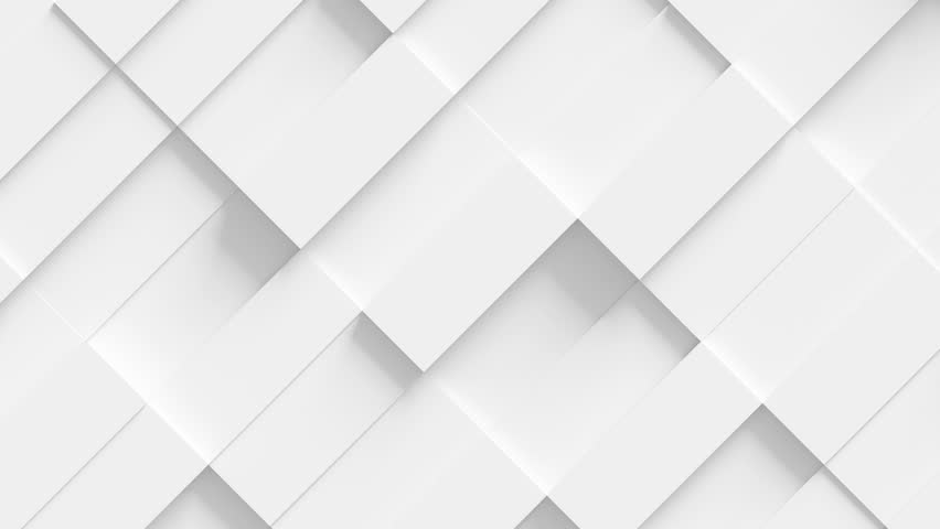 Abstract Rectangle Geometric Surface Loop 1A: light bright clean minimal rectangular grid pattern, random waving motion background canvas in pure wall architectural white. Seamless loop 4K UHD FullHD.