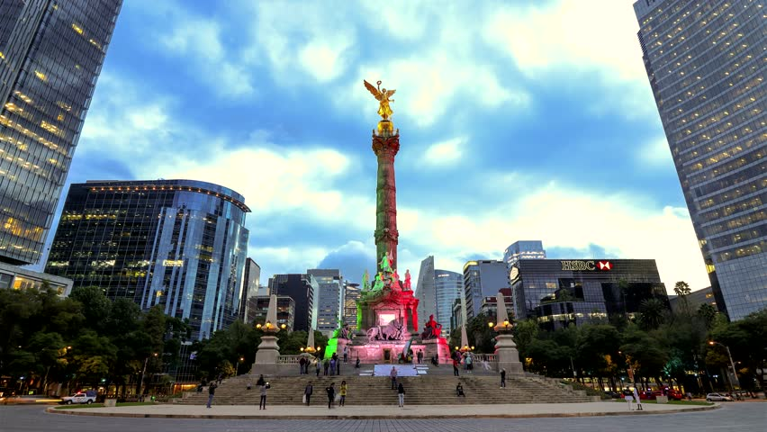 Mexico City, Mexico - September 7, 2017: Monumento a la Independencia, El Ángel (Monument to Independence, The Angel) at night, in Paseo de la Reforma.