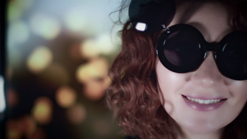 4k Close-up Hipster Woman Face with Sunglasses | Shutterstock HD Video #31864822