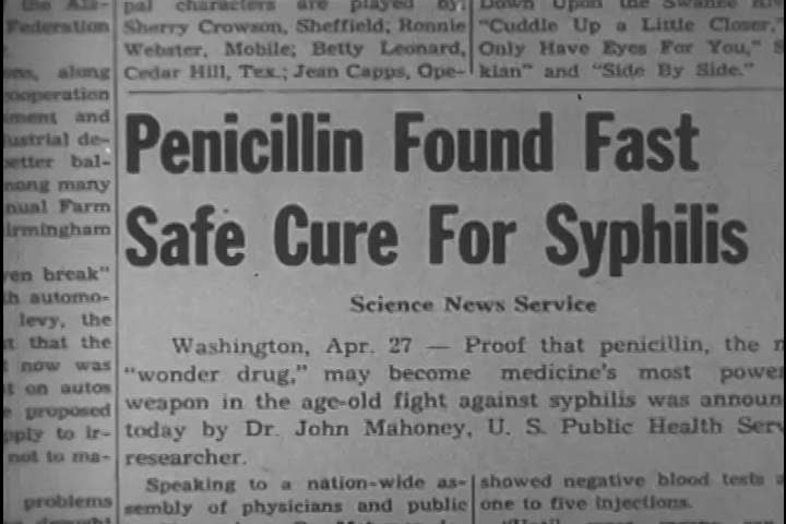 CIRCA 1950s - Rapid Treatment Centers began administering penicillin to treat syphilis, and the widespread public education campaign continued in theatres, newspapers, and public discourse