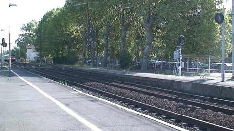 AGDE, FRANCE - CIRCA 2010: French train passing through Agde Station in Southern France.