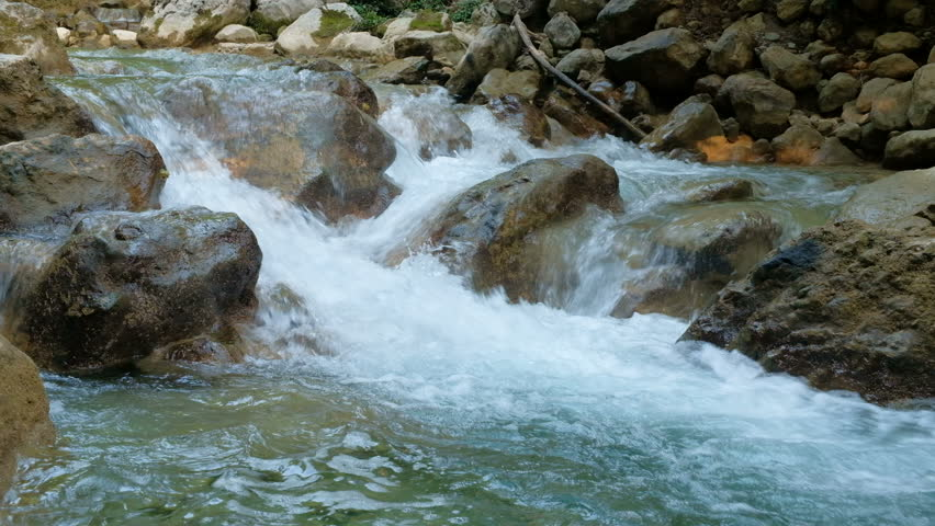 Rushing bubbling water of a mountain river. Spring rill flow. Nature composition. | Shutterstock HD Video #31898851