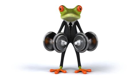 Fun frog with suit and weights
