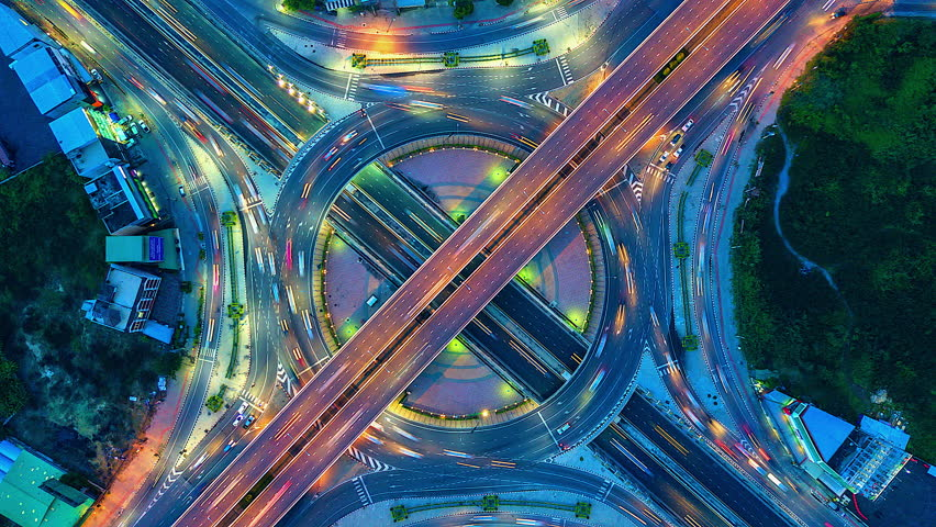 Aerial view  Time lapse of the expressway, motorway and highway in the detail of circus intersection #31916473
