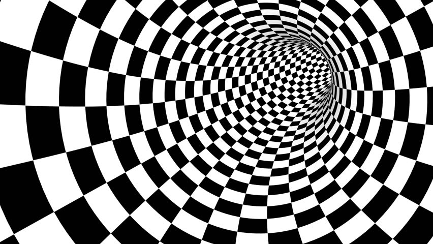Animated hypnotic tunnel with white and black squares. Seamless loop. 4K, UHD, Ultra HD resolution. More color options available - check my portfolio.