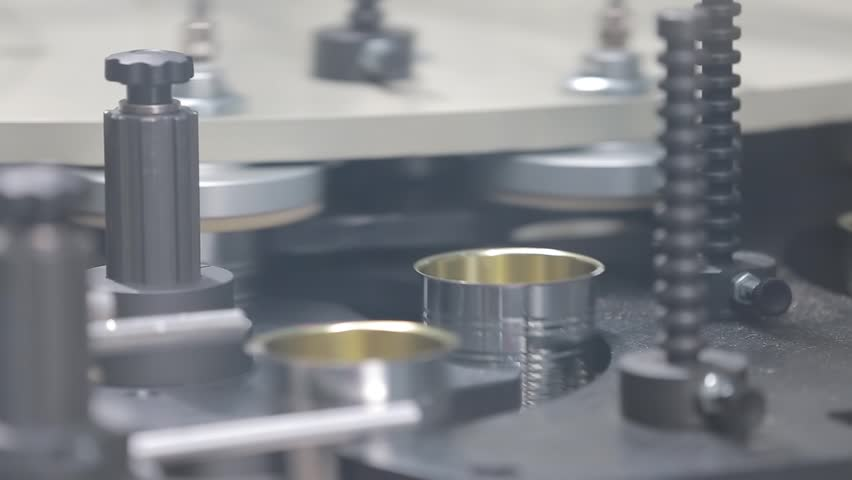 Empty cans in the production process pass through the working line. | Shutterstock HD Video #31930033