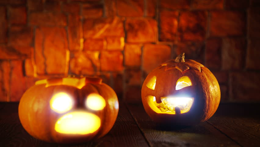 Funny and Scary Halloween Pumpkin Scared and Get Away | Shutterstock HD Video #31939999