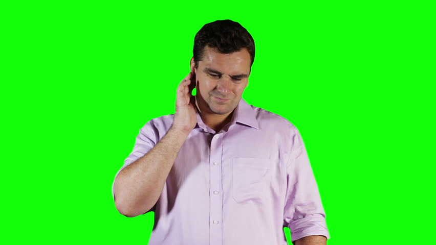 Young Man Hurting Ears GreenScreen  Footage was shot against green screen and keyed out. The bg is pure green, removing the green is only 1 click. Green spills are removed.