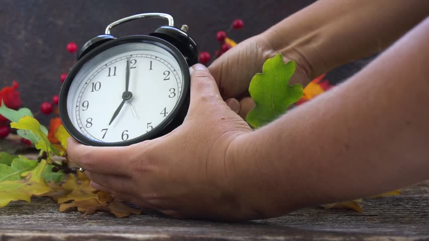 Autumn time - fall leaves with clock Royalty-Free Stock Footage #31956088