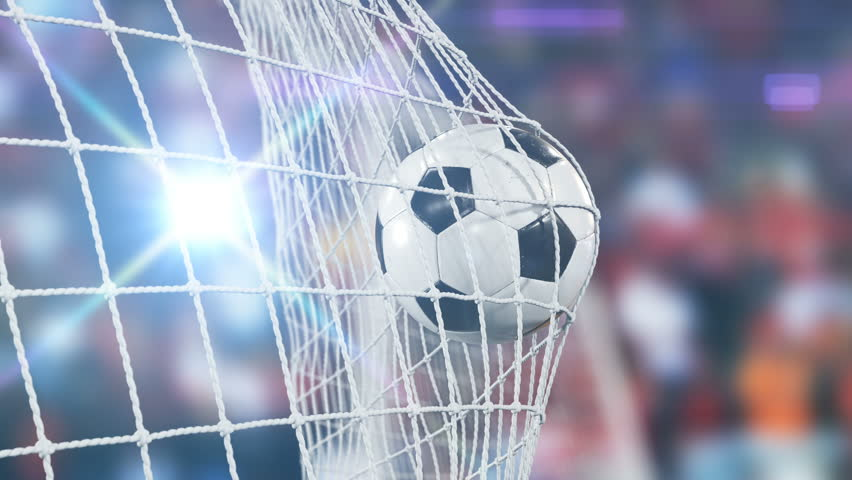 Beautiful Soccer Slow Motion Concept of the Ball flying into Goal Net. 3d animation Close up Sport Concept. 4k UHD 3840x2160. Royalty-Free Stock Footage #31956967