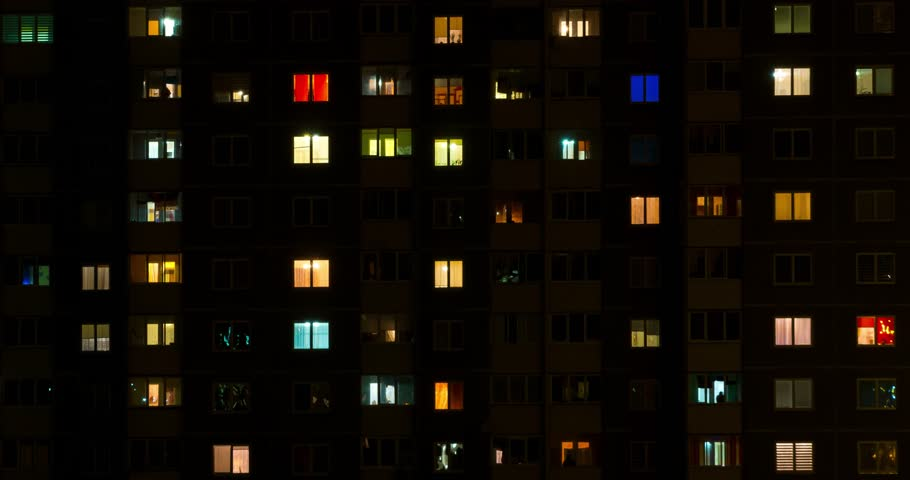 Light in the windows of a multistory building. Time lapse. Serenade of light #31957327