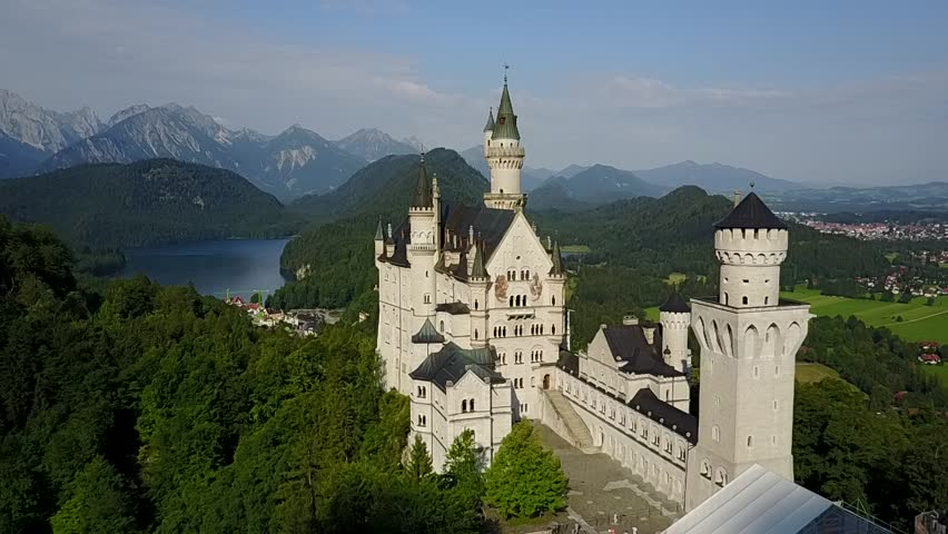 Neuschwanstein Castle in Fussen, Bavaria, Germany in a beautiful summer day